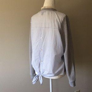 NWOT J. Crew Button and Tie Back Grey Sweatshirt